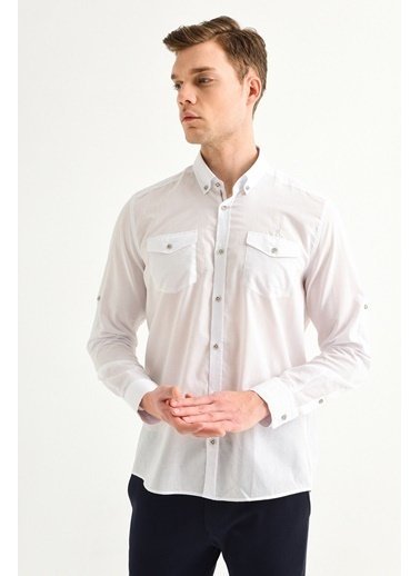 Avva Erkek  Düğmeli Yaka Slim Fit Gömlek A01Y2046 Beyaz